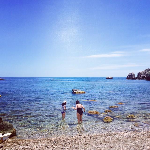 """""""Tiptoeing in Taormina"""" stock image"""
