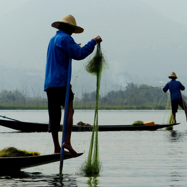 """Inle Lake Fishermen"" stock image"