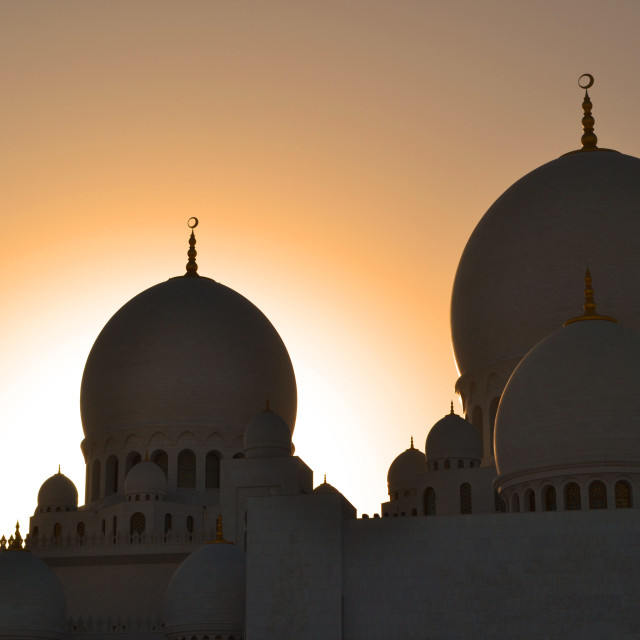 """Sheikh Zayed Grand Mosque at Sunset"" stock image"