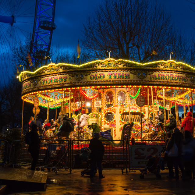 """Blue Hour Carousel"" stock image"