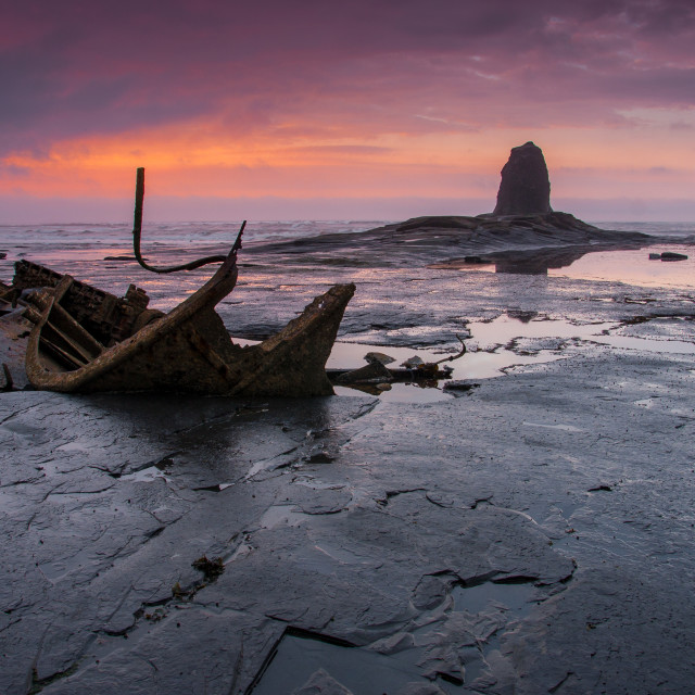 """Sunset at Saltwick Bay"" stock image"