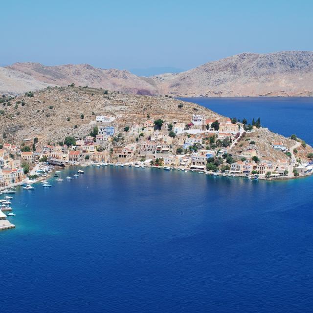 """Yialos harbour, Symi island"" stock image"