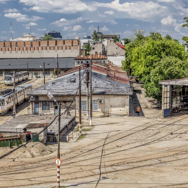 """Tram Depot Panoramic Photography"" stock image"