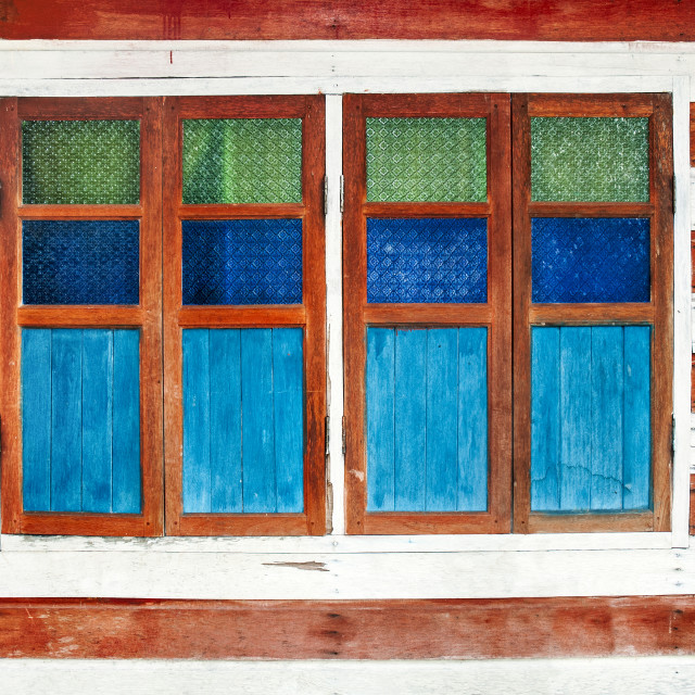 """Wooden wall with window"" stock image"