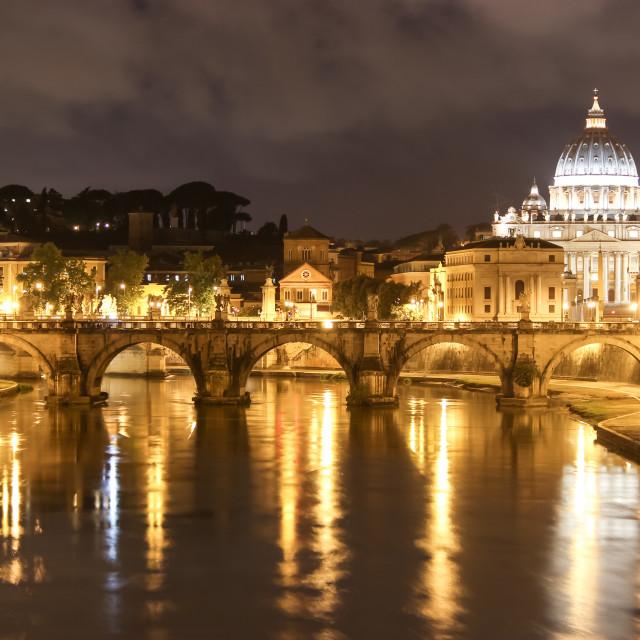 """""""Golden River and Vatican Bridge Of Angels"""" stock image"""