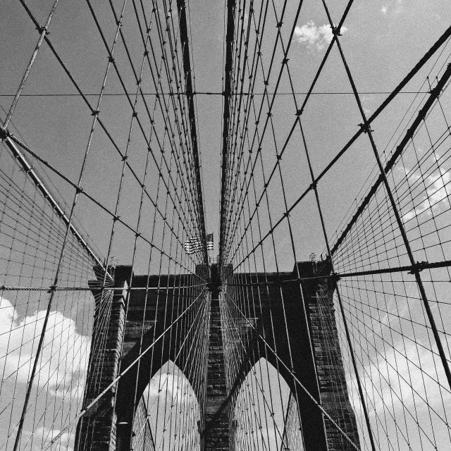 """Brooklyn Bridge, b&w"" stock image"