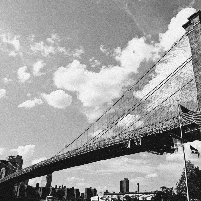 """Take 2, Brooklyn Bridge, b&w"" stock image"