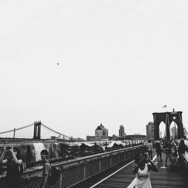 """People on Brooklyn Bridge"" stock image"