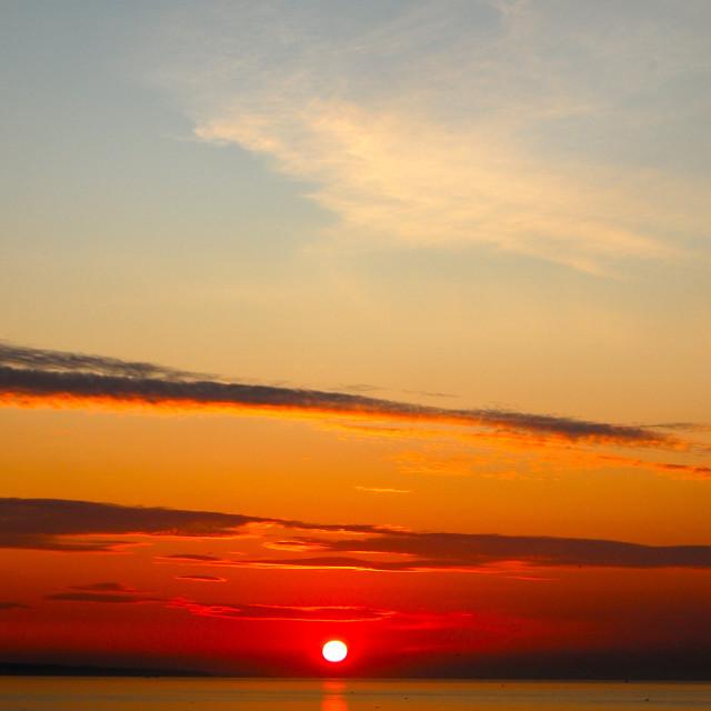 """Portugal Fishing Boat Sunset"" stock image"