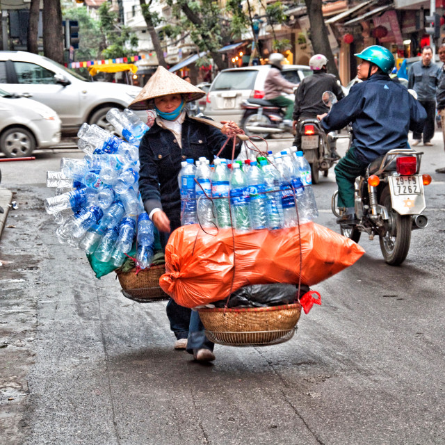 """THE PLASTIC BOTTLE COLLECTOR"" stock image"