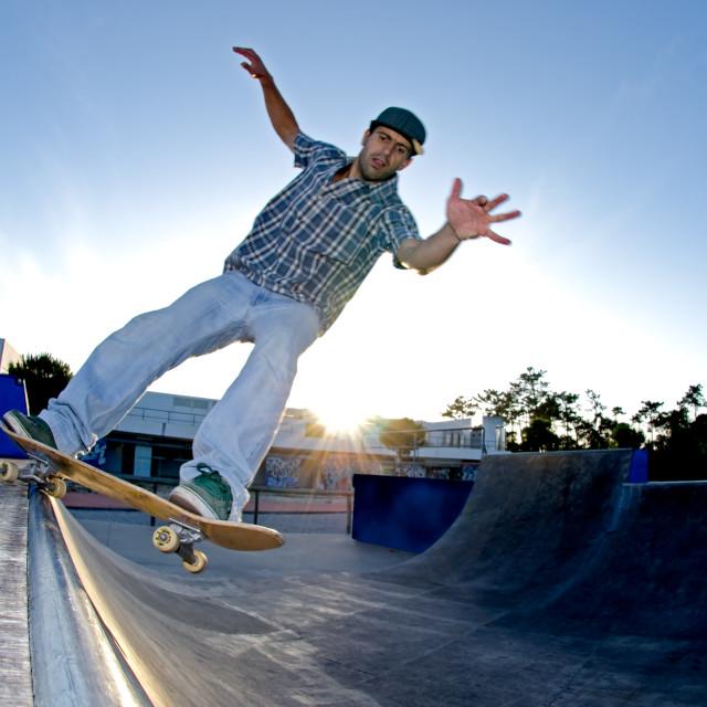 """""""Skateboarder on a grind"""" stock image"""