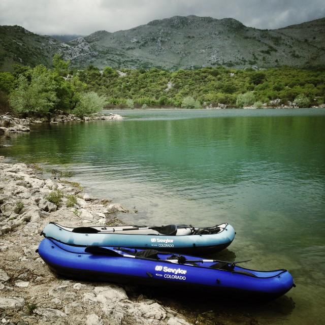 """Two kayaks"" stock image"
