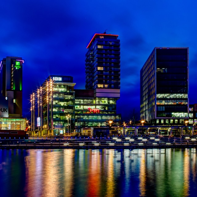 """MediaCity Skyline, Manchester"" stock image"