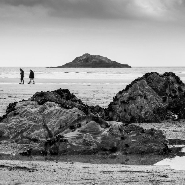 """Walk Crantock Beach"" stock image"