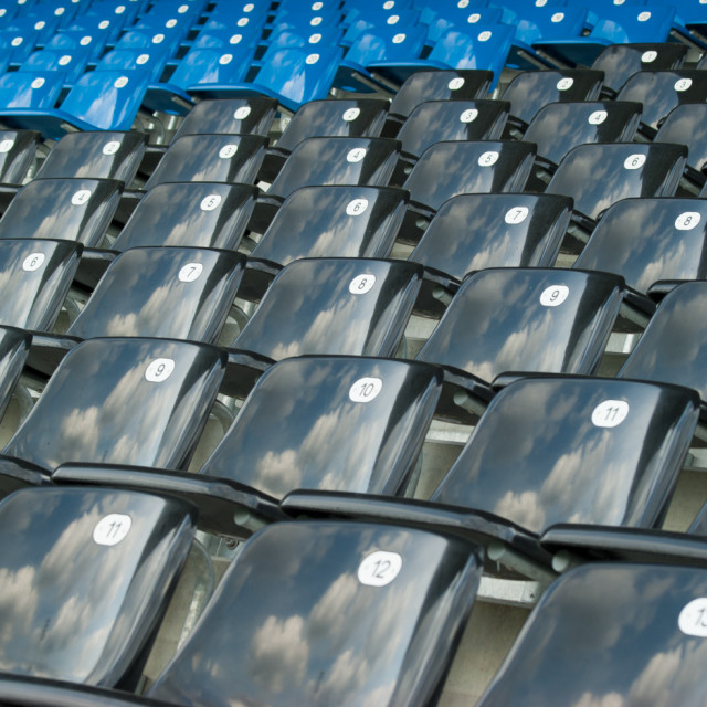 """black and blue seats"" stock image"