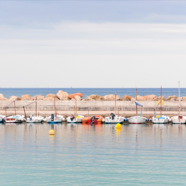 """""""Boats on jetty"""" stock image"""