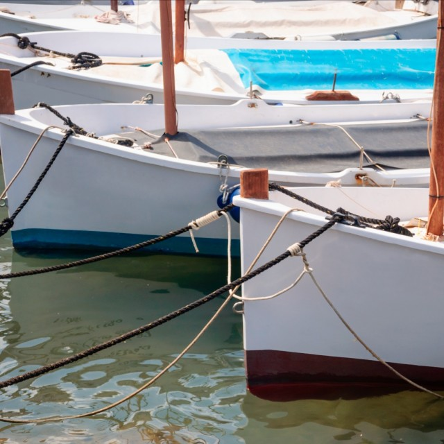 """Moored llauts"" stock image"