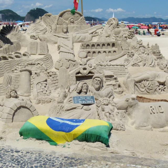 """Sand sculpture, Rio"" stock image"
