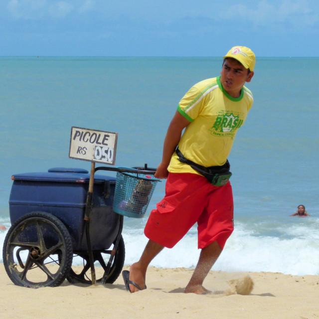 """Beach vendor, Brazil"" stock image"