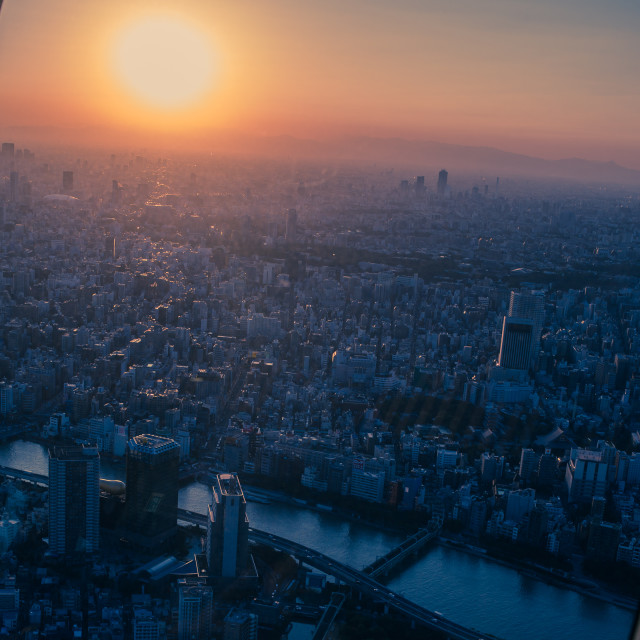 """""""Sunset over Tokyo"""" stock image"""