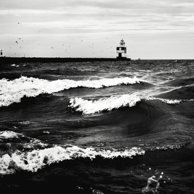 """The Anger of Lake Michigan"" stock image"