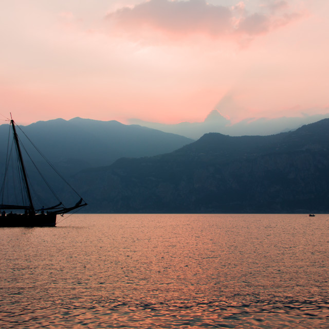 """Sailboat in sunset"" stock image"