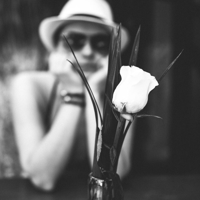"""Woman and a rose"" stock image"
