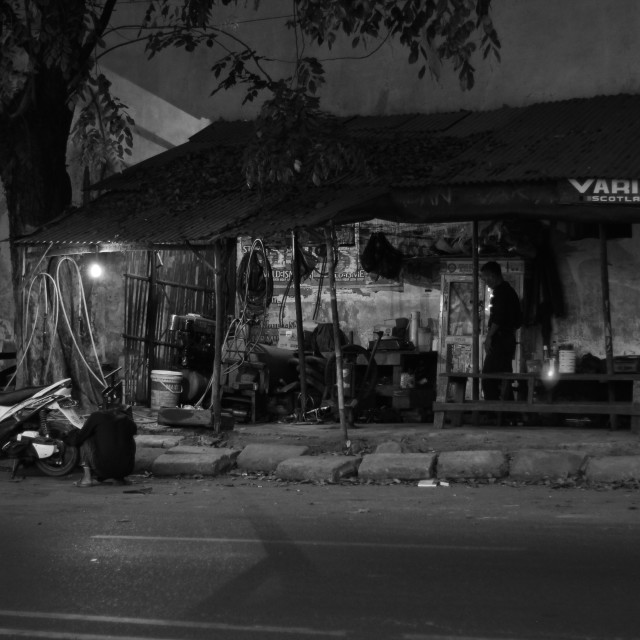 """Indonesian Motorcycle Repair"" stock image"