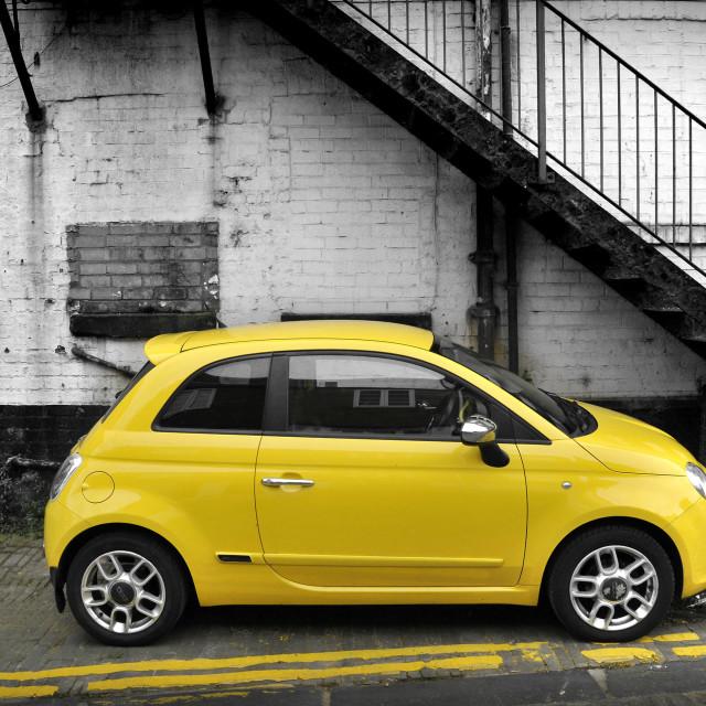 """Yellow Fiat 500"" stock image"