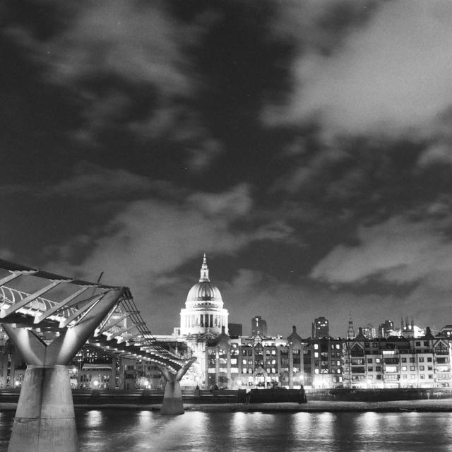 """St Paul's Cathedral, Millenium Bridge"" stock image"