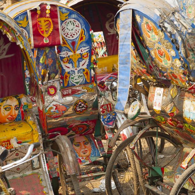 """""""Rickshaws, Dhakka, Bangladesh"""" stock image"""