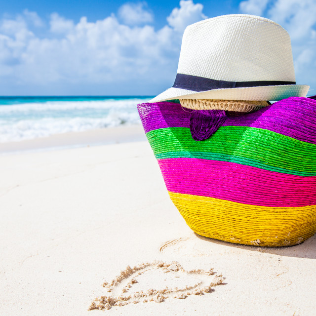"""Colorful bag and a hat"" stock image"