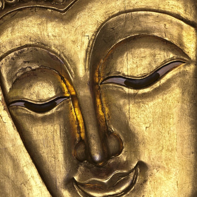 """Close up of a Buddha face"" stock image"