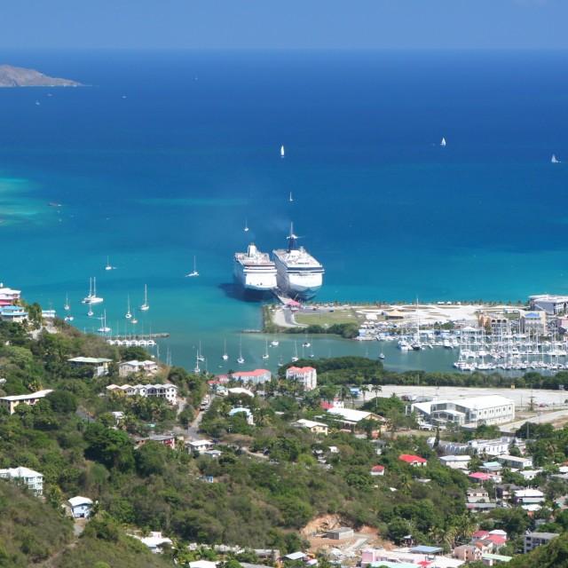 """""""Cruise ships, Tortola"""" stock image"""