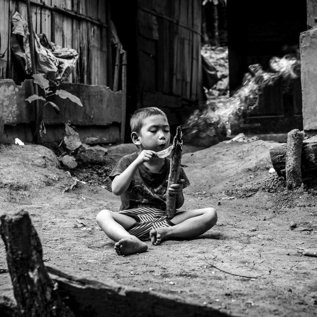 """""""Boy in Laos Village"""" stock image"""