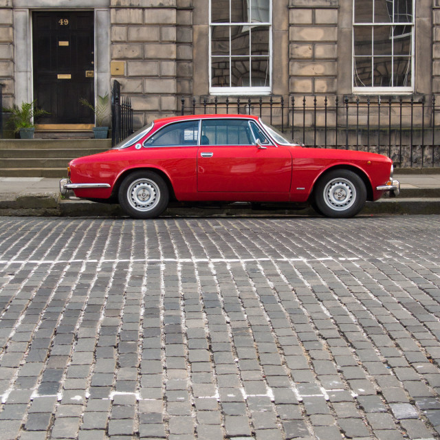 """Little Red Car, Edinburgh"" stock image"