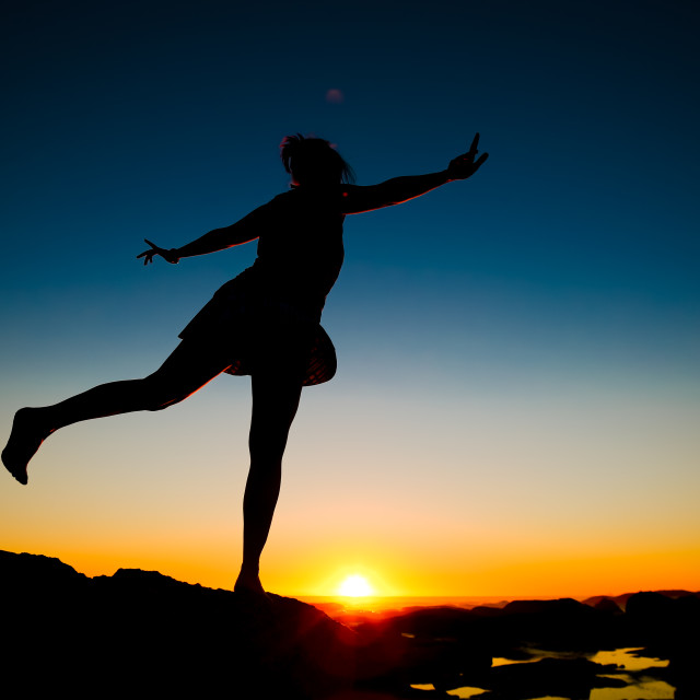 """Ballerina on Top of the World"" stock image"