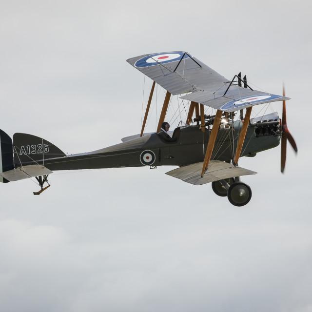 """""""B.E.2f biplane in flight"""" stock image"""