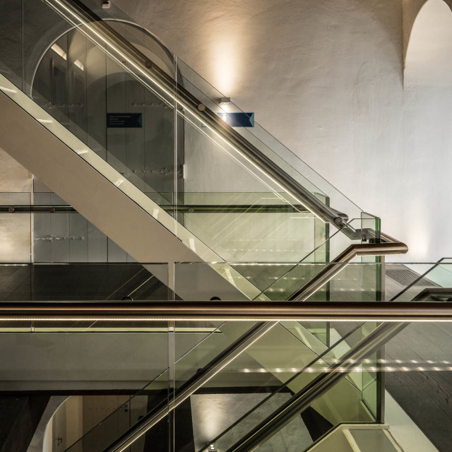 """Glass and metal stairway"" stock image"