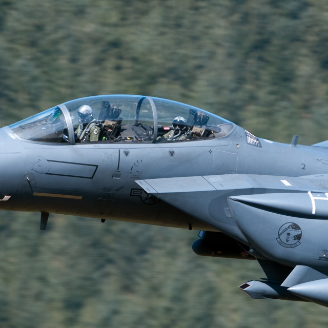 """USAF f15 LOW LEVE NORTH WALES"" stock image"