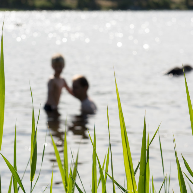 """""""People in a lake"""" stock image"""