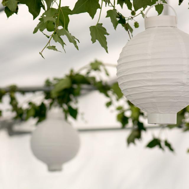 """Lanterns in a summer pavilion"" stock image"