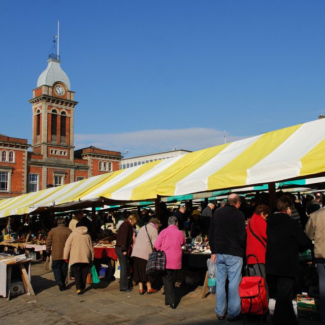 """Chesterfield Market ,Derbyshire,UK."" stock image"