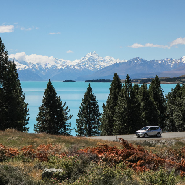 """Lake Pukaki, N.Z."" stock image"