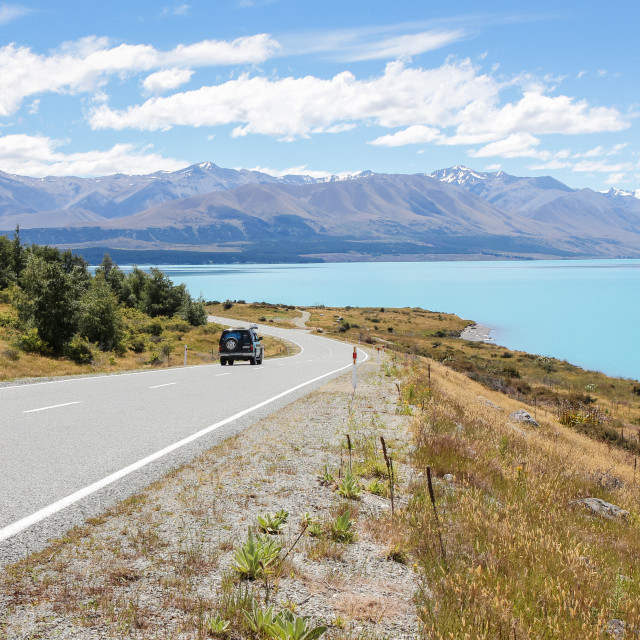 """Lake Pukaki highway."" stock image"