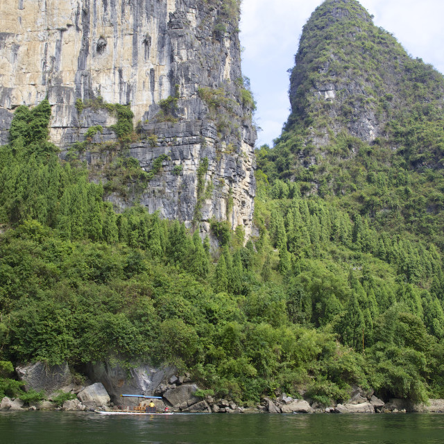 """Boating on the Li River"" stock image"