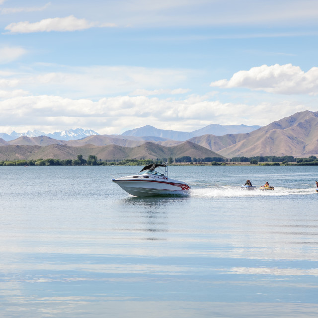 """""""Boating on Benmore"""" stock image"""