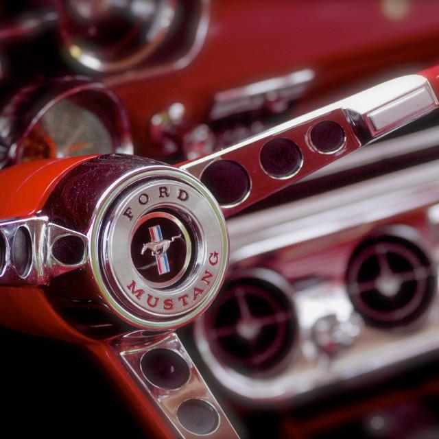 """1969 Ford Mustang Mach 1 Steering Wheel"" stock image"
