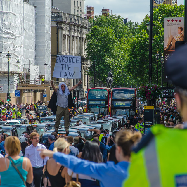 """London Taxi Demo 11.6.14"" stock image"