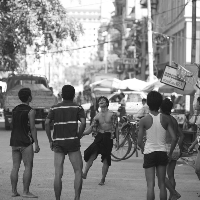 """Street scene Yangon (Rangoon)"" stock image"